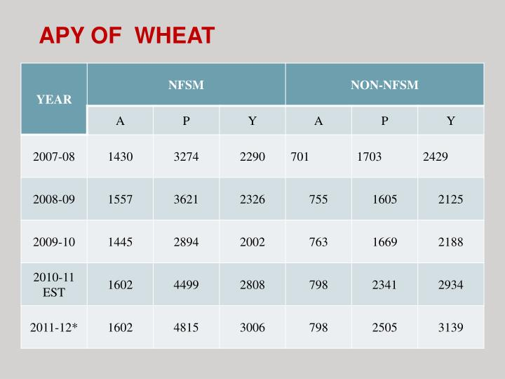 APY OF  WHEAT