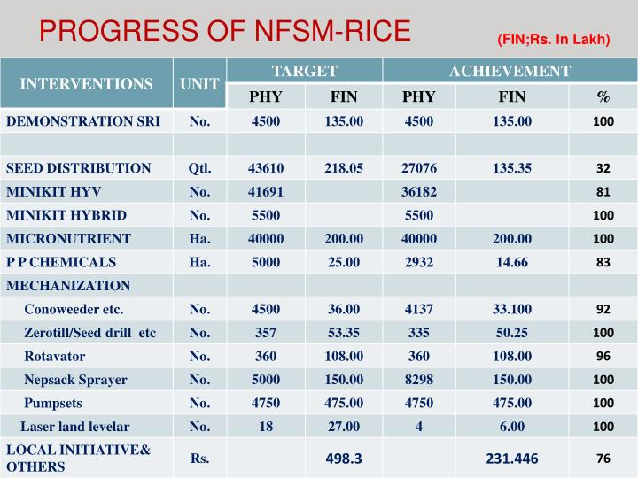 PROGRESS OF NFSM-RICE
