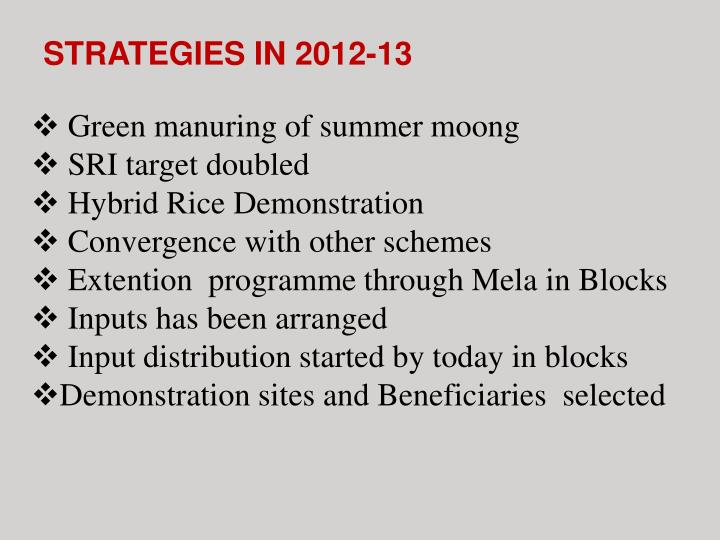 STRATEGIES IN 2012-13