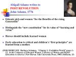 abigail adams writes to post revolution john adams 1776
