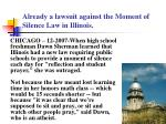 already a lawsuit against the moment of silence law in illinois
