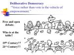 deliberative democracy voice rather than vote is the vehicle of empowerment