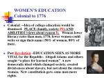 women s education colonial to 1776