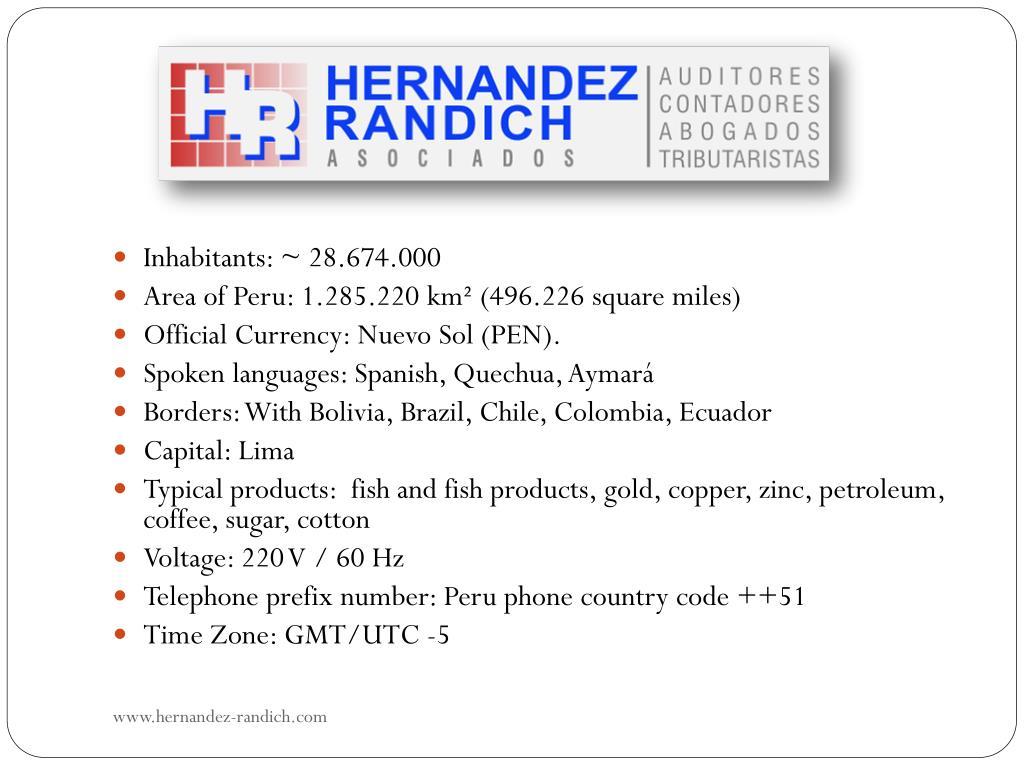 Inhabitants: ~ 28.674.000