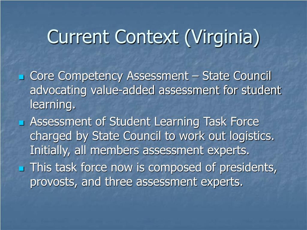 Current Context (Virginia)