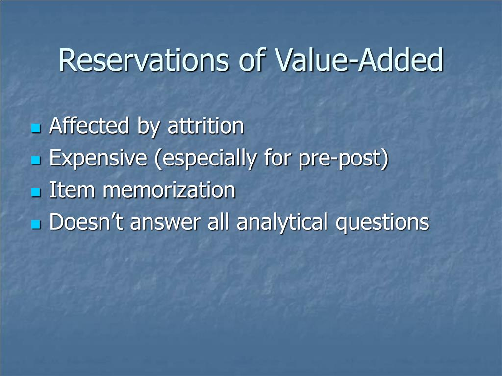Reservations of Value-Added