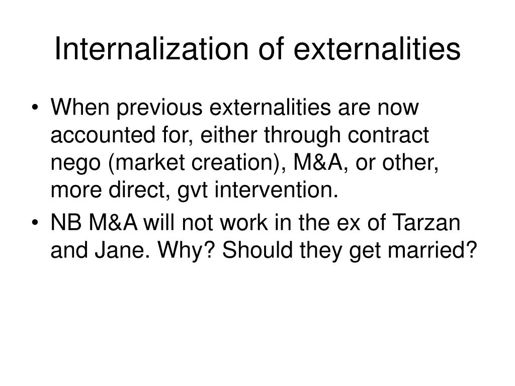 Internalization of externalities