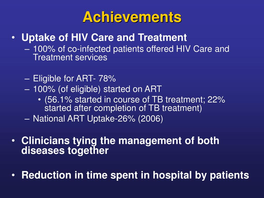 Uptake of HIV Care and Treatment