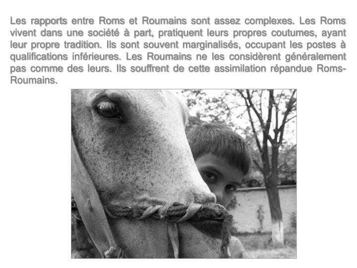 Les rapports entre Roms et Roumains sont assez complexes. Les Roms vivent dans une société à part, pratiquent leurs propres coutumes, ayant leur propre tradition. Ils sont souvent marginalisés, occupant les postes à qualifications inférieures. Les Roumains ne les considèrent généralement pas comme des leurs. Ils souffrent de cette assimilation répandue Roms-Roumains.