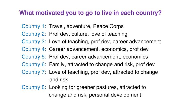 What motivated you to go to live in each country?