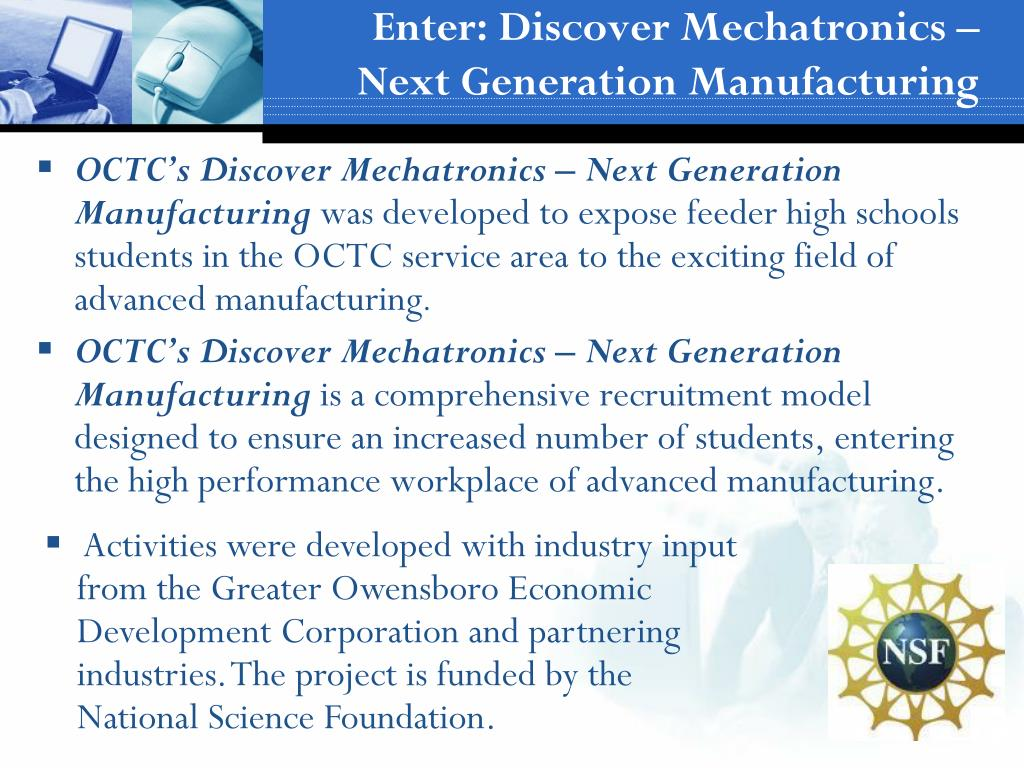 Enter: Discover Mechatronics – Next Generation Manufacturing