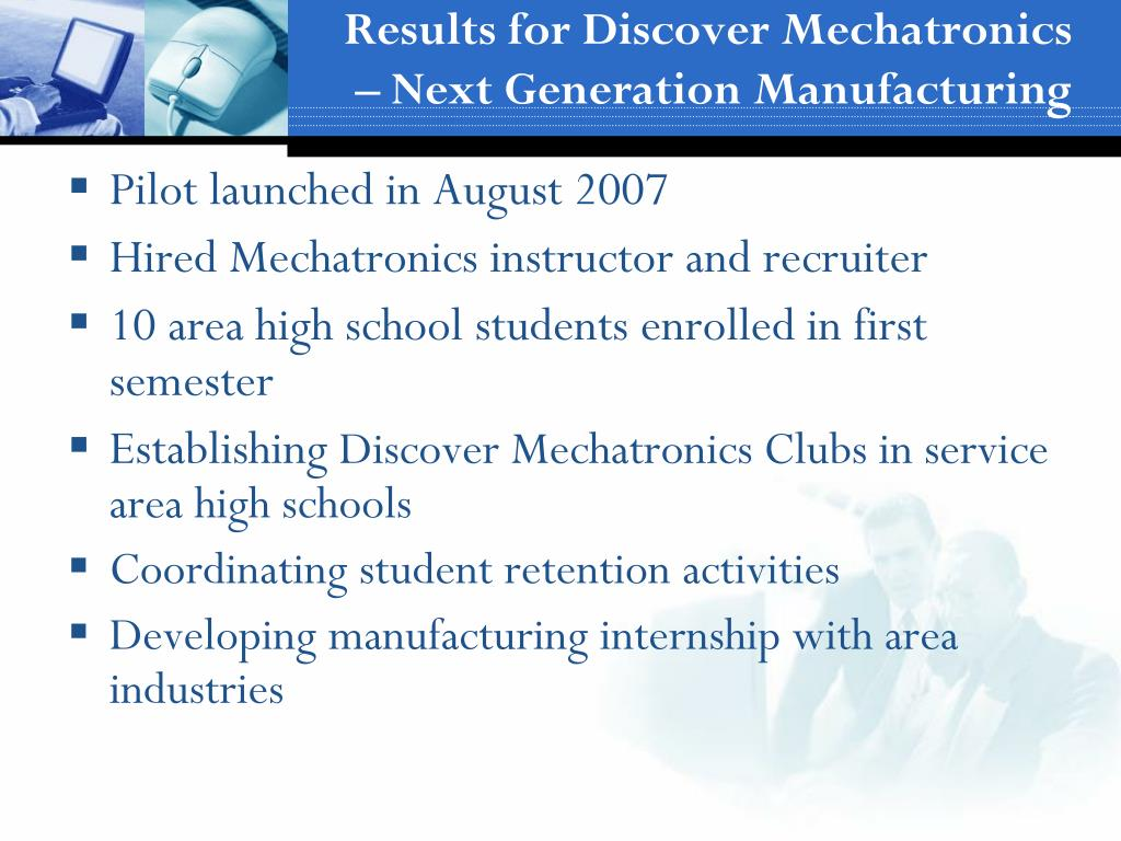 Results for Discover Mechatronics – Next Generation Manufacturing
