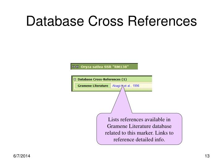 Database Cross References