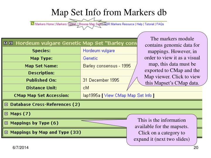 Map Set Info from Markers db