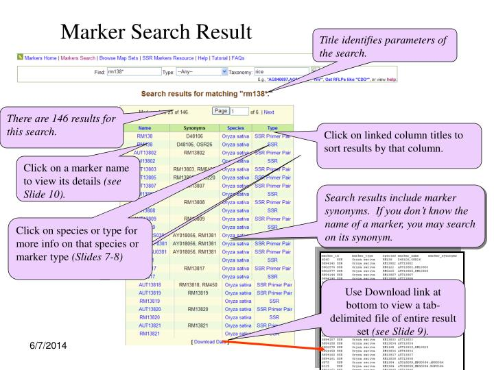 Marker Search Result