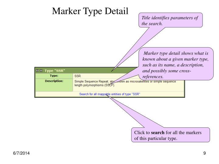 Marker Type Detail