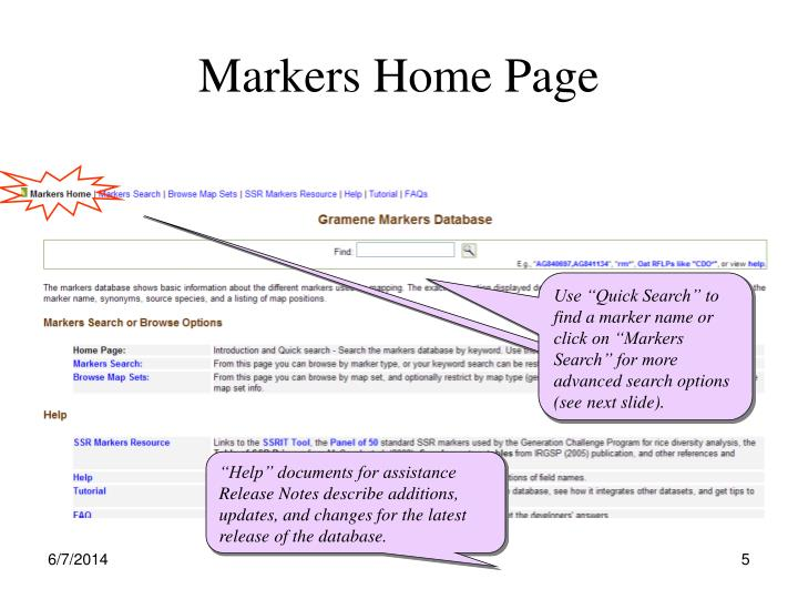 Markers Home Page