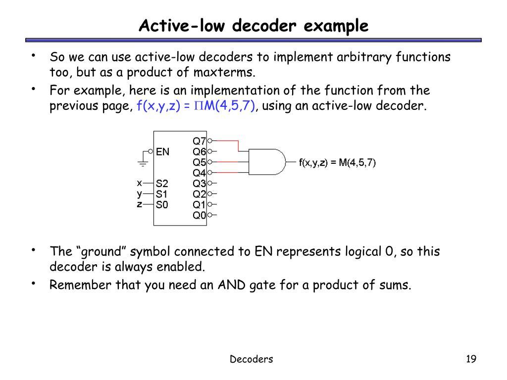Active-low decoder example
