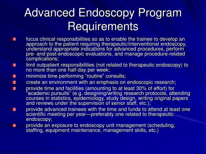 Advanced Endoscopy Program Requirements