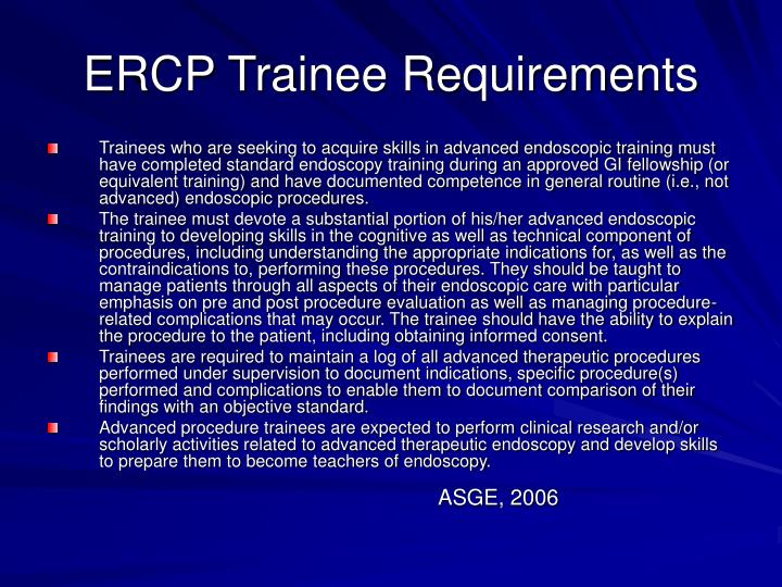 ERCP Trainee Requirements