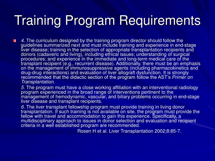 Training Program Requirements