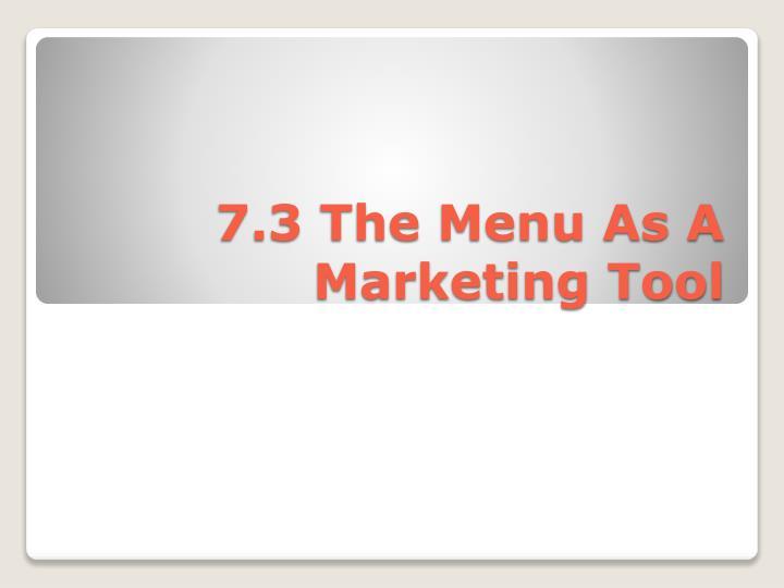 7.3 The Menu As A Marketing Tool