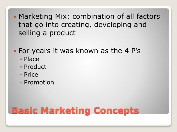 Marketing Mix: combination of all factors that go into creating, developing and selling a product