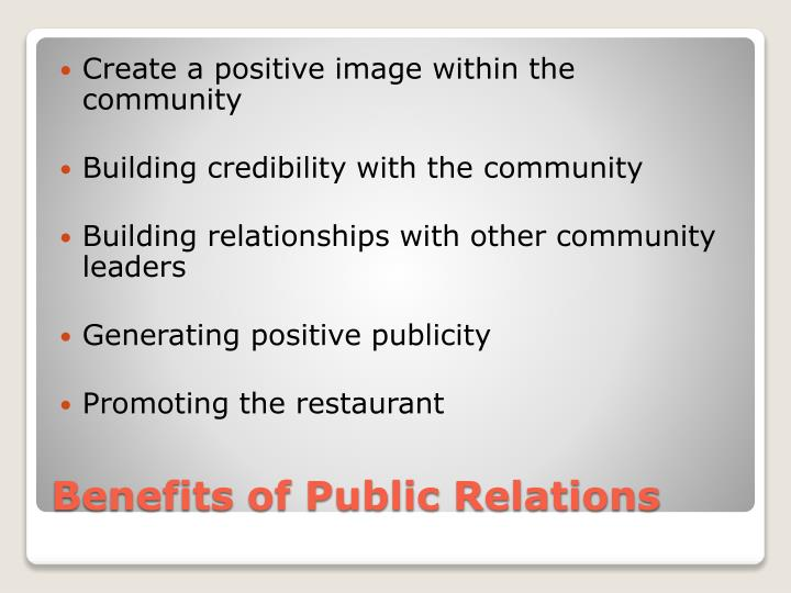 Create a positive image within the community