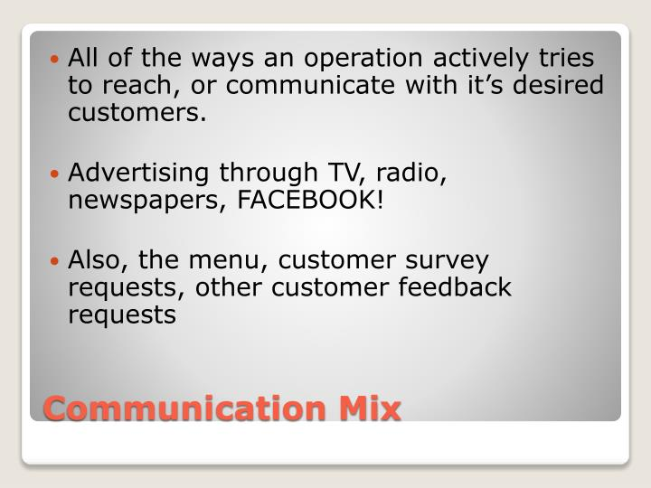 All of the ways an operation actively tries to reach, or communicate with it's desired customers.