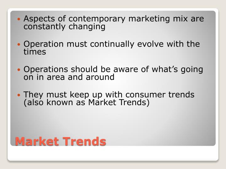Aspects of contemporary marketing mix are constantly changing
