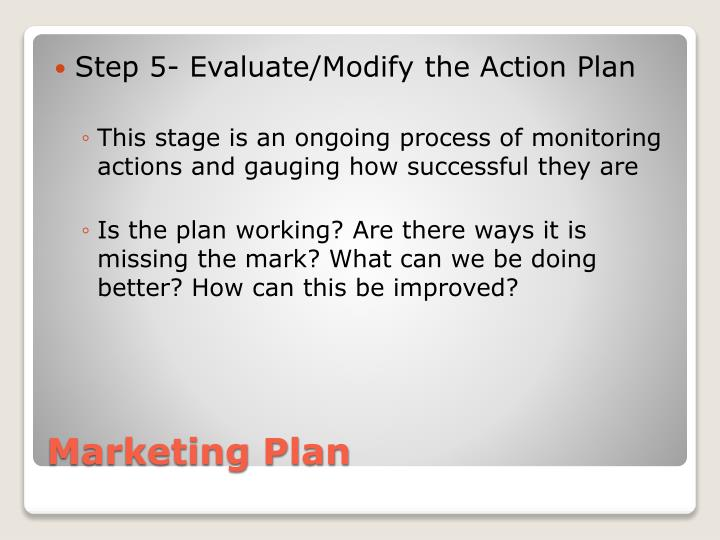 Step 5- Evaluate/Modify the Action Plan