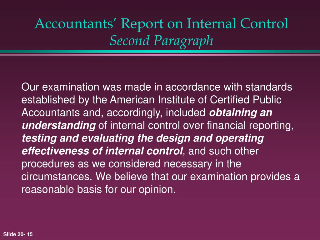Accountants' Report on Internal Control