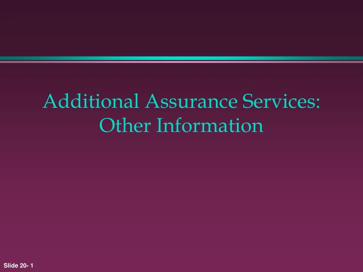 Additional assurance services other information