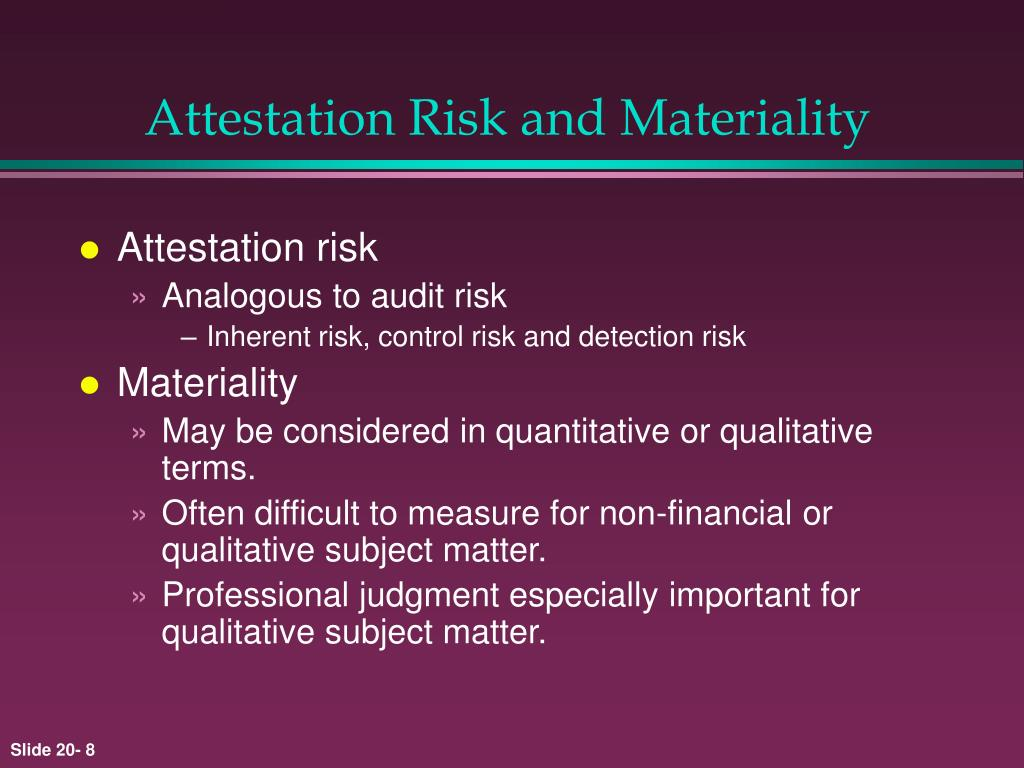 Attestation Risk and Materiality