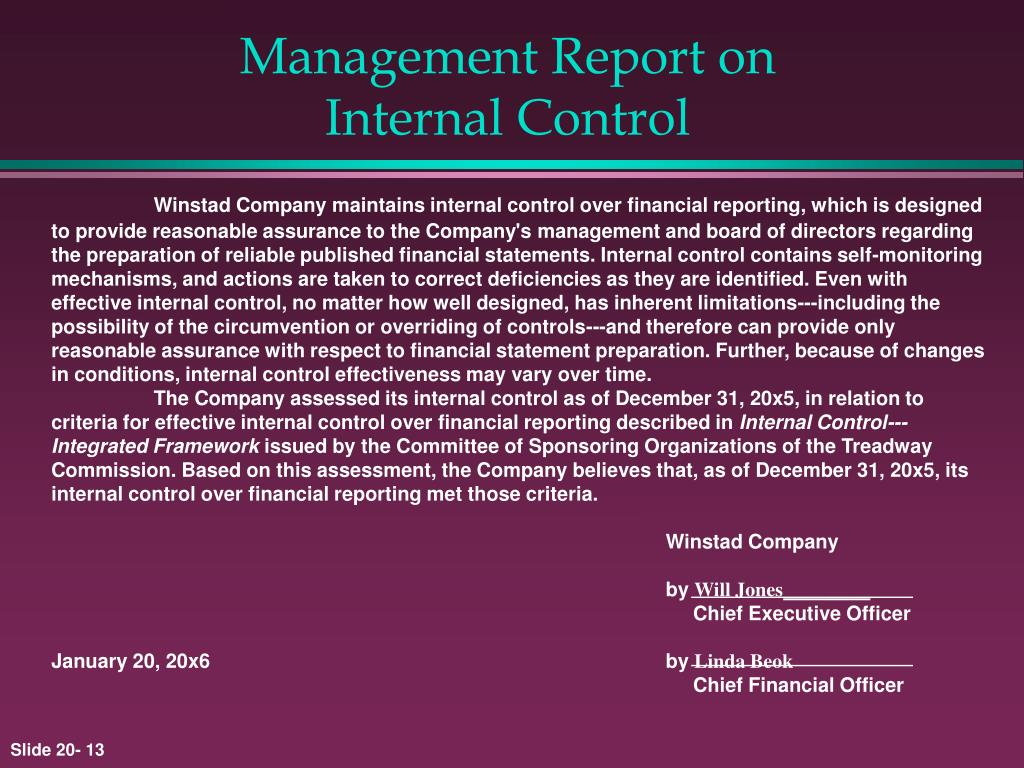 Management Report on