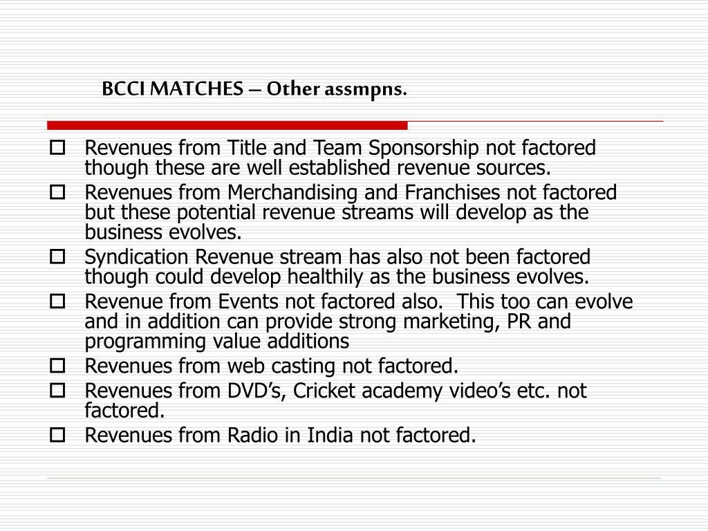 BCCI MATCHES – Other assmpns.