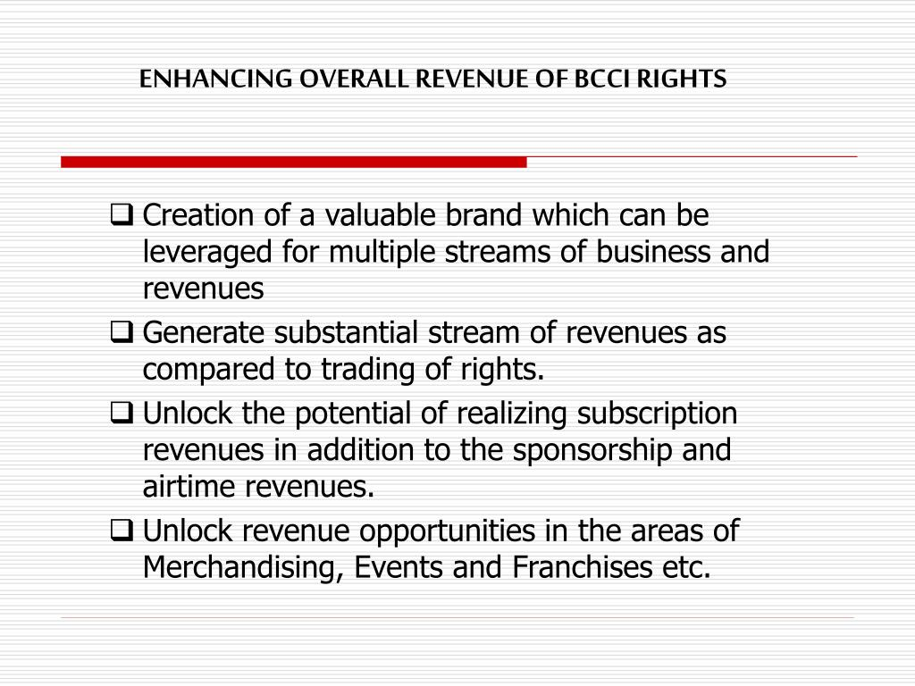 ENHANCING OVERALL REVENUE OF BCCI RIGHTS