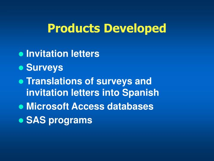 Products Developed