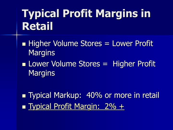 Typical Profit Margins in Retail