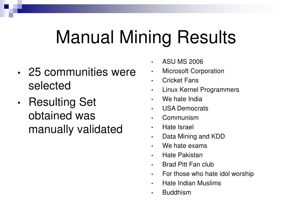 Manual Mining Results