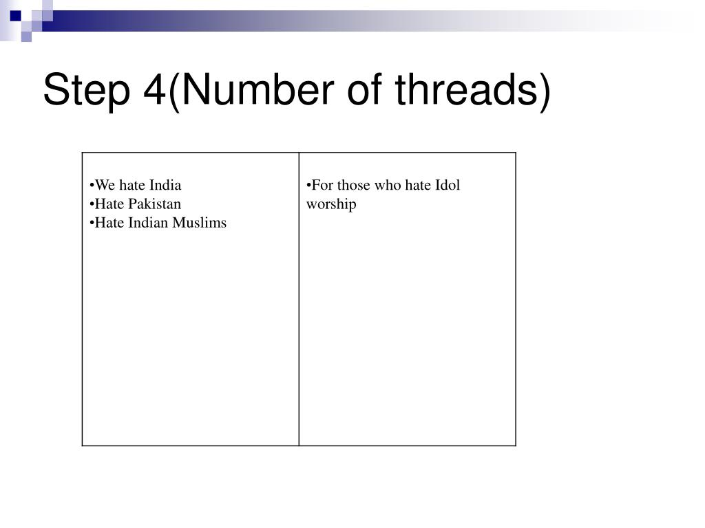 Step 4(Number of threads)