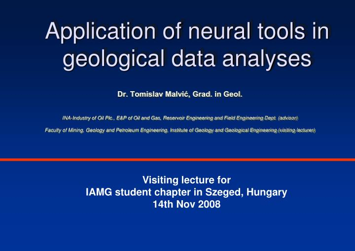 application of neural tools in geological data analyses