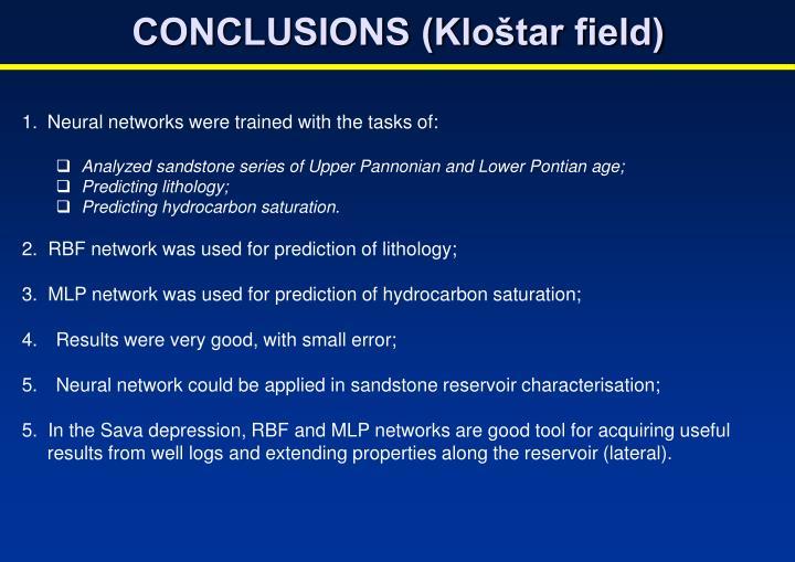 CONCLUSIONS (Kloštar field)