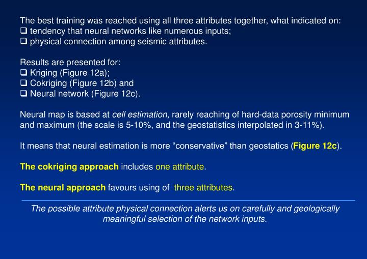 The best training was reached using all three attributes together, what indicated on:
