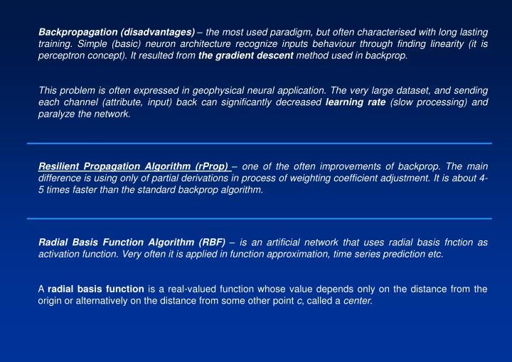 Backpropagation (disadvantages)