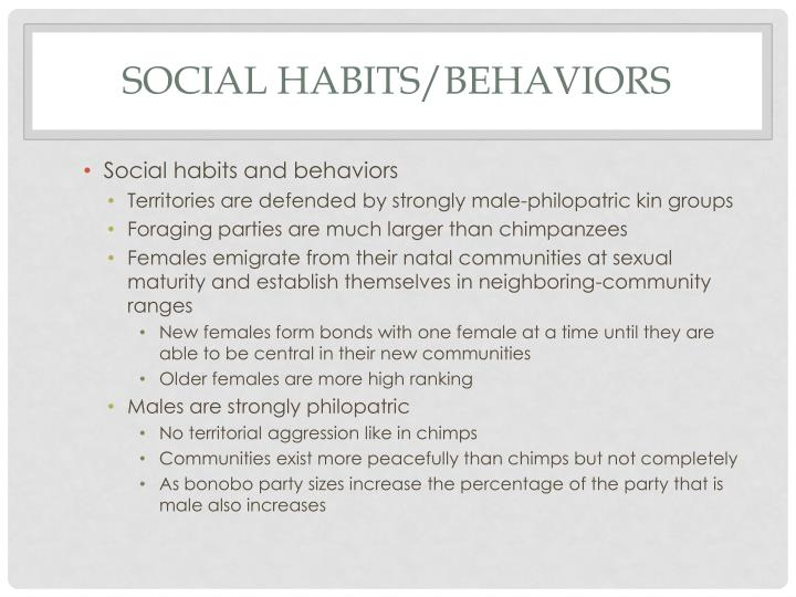SOCIAL HABITS/BEHAVIORS