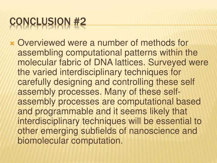 Overviewed were a number of methods for assembling computational patterns within the molecular fabric of DNA lattices. Surveyed were the varied interdisciplinary techniques for carefully designing and controlling these self assembly processes. Many of these self-assembly processes are computational based and programmable and it seems likely that interdisciplinary techniques will be essential to other emerging subfields of
