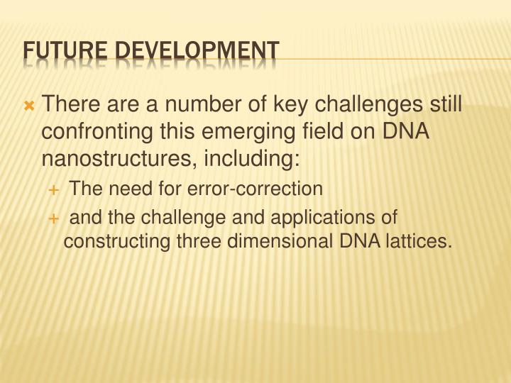 There are a number of key challenges still confronting this emerging field on DNA nanostructures, including:
