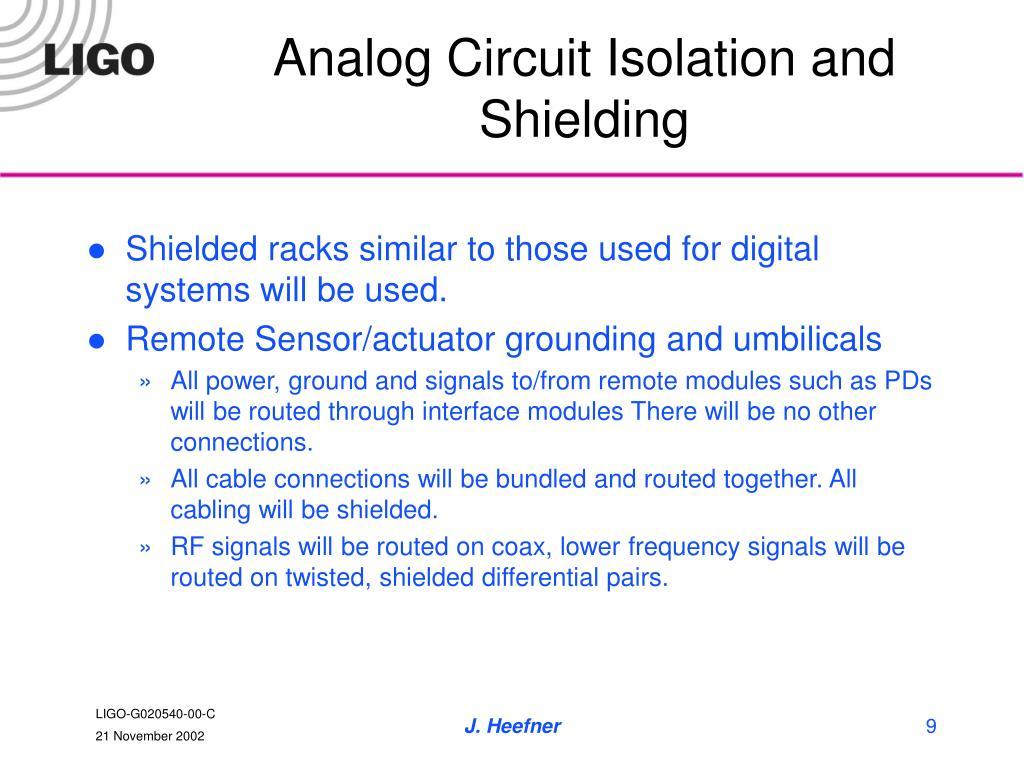 Analog Circuit Isolation and Shielding