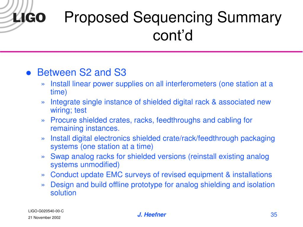Proposed Sequencing Summary cont'd